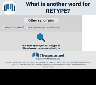 retype, synonym retype, another word for retype, words like retype, thesaurus retype