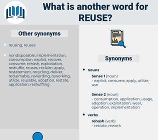 reuse, synonym reuse, another word for reuse, words like reuse, thesaurus reuse