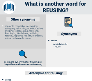 reusing, synonym reusing, another word for reusing, words like reusing, thesaurus reusing
