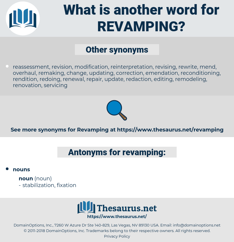 revamping, synonym revamping, another word for revamping, words like revamping, thesaurus revamping
