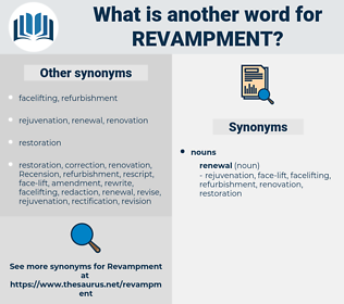 revampment, synonym revampment, another word for revampment, words like revampment, thesaurus revampment