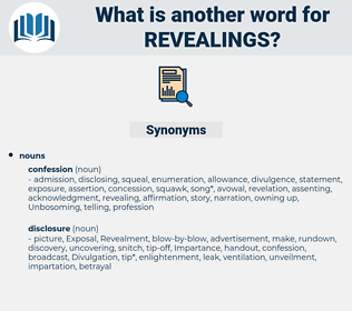 revealings, synonym revealings, another word for revealings, words like revealings, thesaurus revealings