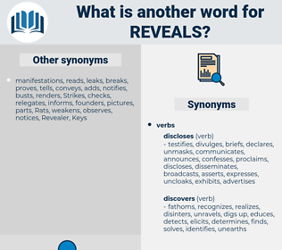 reveals, synonym reveals, another word for reveals, words like reveals, thesaurus reveals