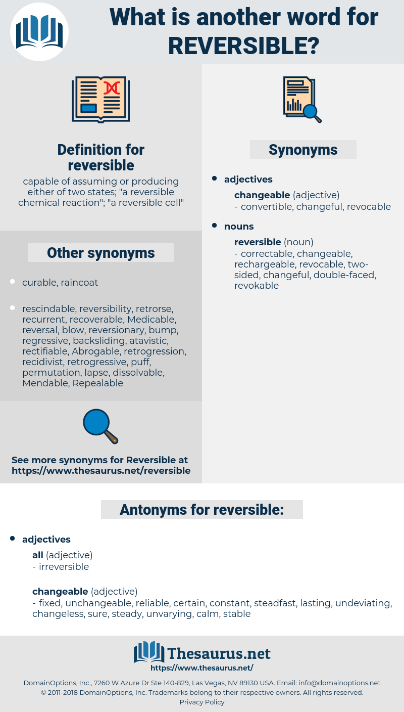 reversible, synonym reversible, another word for reversible, words like reversible, thesaurus reversible