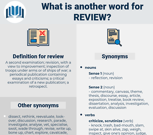 review, synonym review, another word for review, words like review, thesaurus review