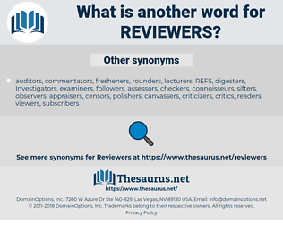 reviewers, synonym reviewers, another word for reviewers, words like reviewers, thesaurus reviewers