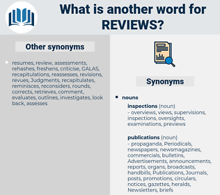 reviews, synonym reviews, another word for reviews, words like reviews, thesaurus reviews
