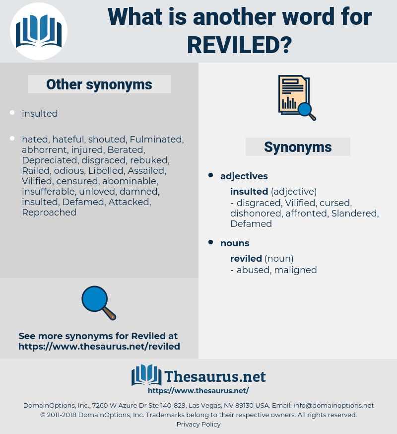 reviled, synonym reviled, another word for reviled, words like reviled, thesaurus reviled