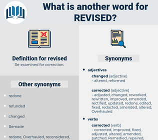 revised, synonym revised, another word for revised, words like revised, thesaurus revised