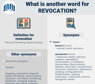 revocation, synonym revocation, another word for revocation, words like revocation, thesaurus revocation