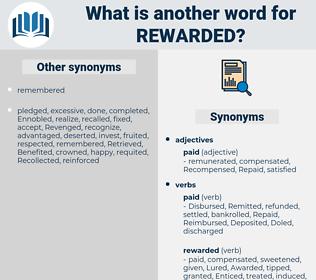 Rewarded, synonym Rewarded, another word for Rewarded, words like Rewarded, thesaurus Rewarded