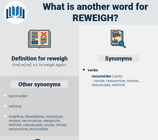 reweigh, synonym reweigh, another word for reweigh, words like reweigh, thesaurus reweigh