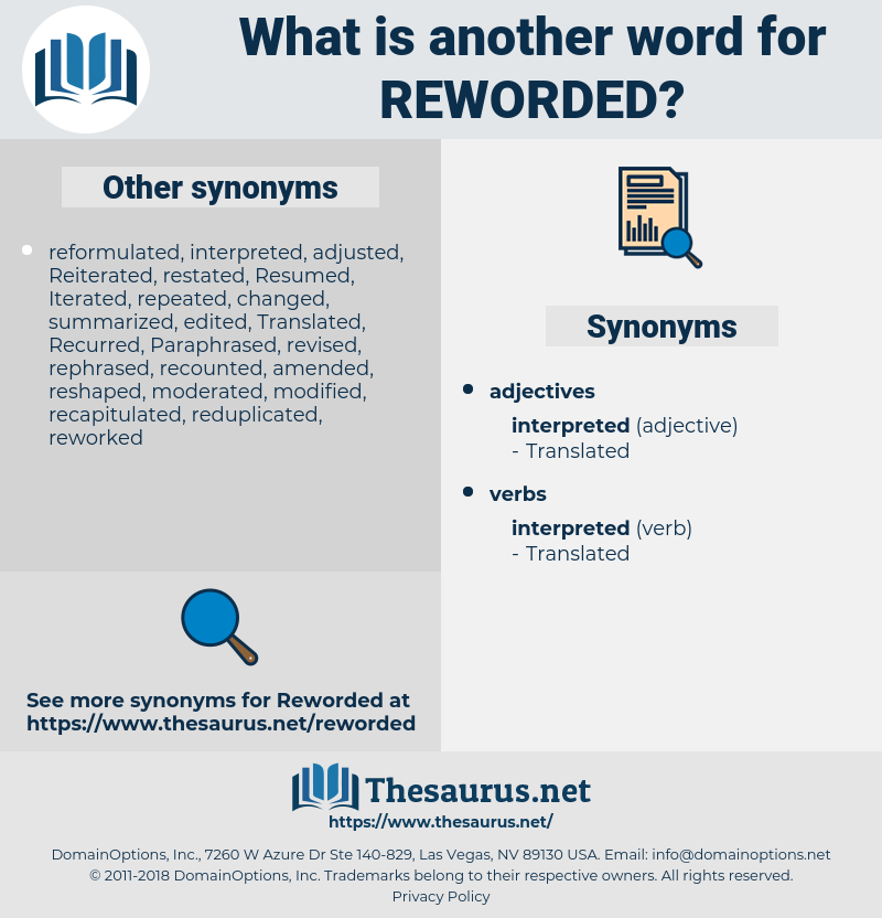 reworded, synonym reworded, another word for reworded, words like reworded, thesaurus reworded