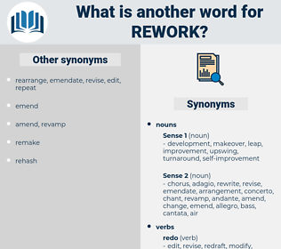 rework, synonym rework, another word for rework, words like rework, thesaurus rework