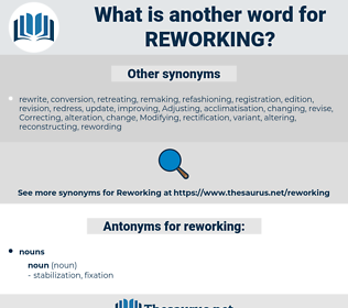 reworking, synonym reworking, another word for reworking, words like reworking, thesaurus reworking