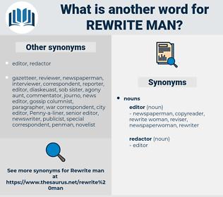 rewrite man, synonym rewrite man, another word for rewrite man, words like rewrite man, thesaurus rewrite man