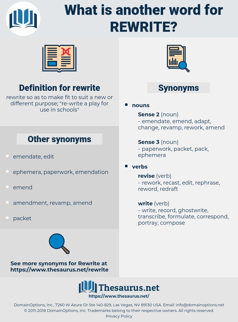 rewrite, synonym rewrite, another word for rewrite, words like rewrite, thesaurus rewrite