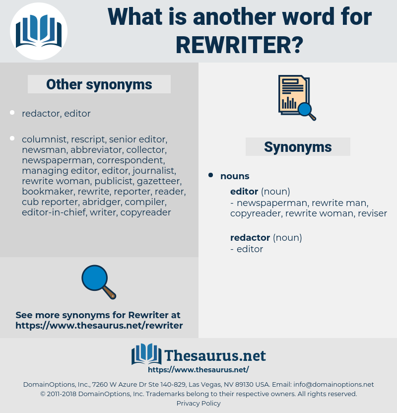 rewriter, synonym rewriter, another word for rewriter, words like rewriter, thesaurus rewriter