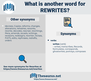 rewrites, synonym rewrites, another word for rewrites, words like rewrites, thesaurus rewrites