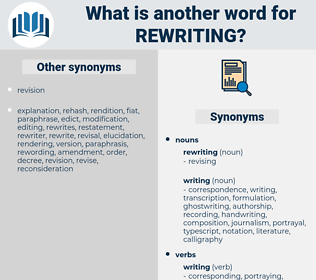 rewriting, synonym rewriting, another word for rewriting, words like rewriting, thesaurus rewriting