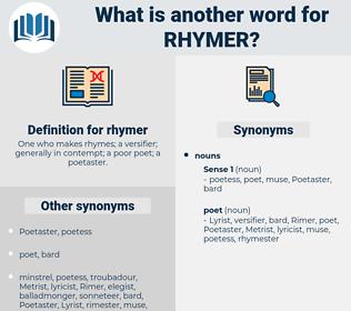 rhymer, synonym rhymer, another word for rhymer, words like rhymer, thesaurus rhymer