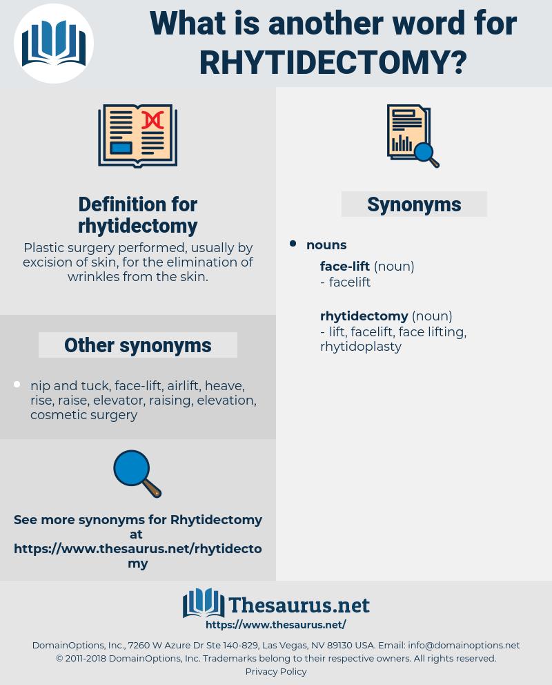 rhytidectomy, synonym rhytidectomy, another word for rhytidectomy, words like rhytidectomy, thesaurus rhytidectomy