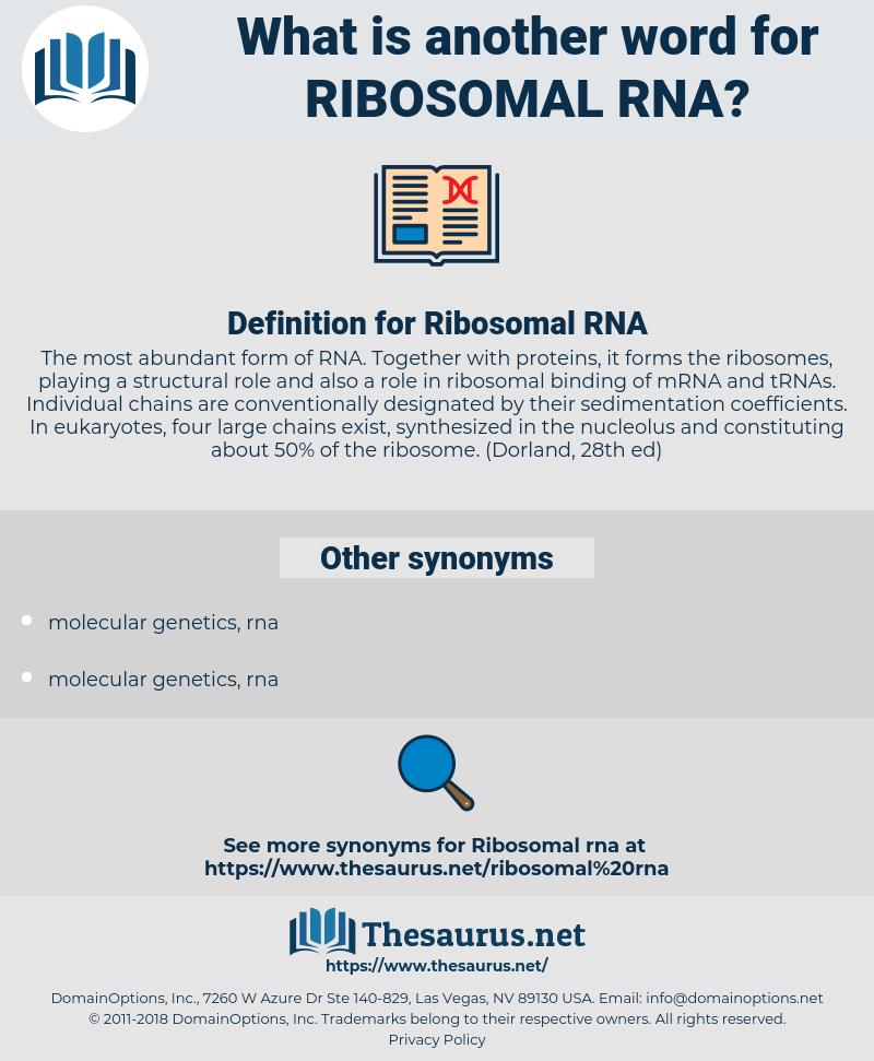 Ribosomal RNA, synonym Ribosomal RNA, another word for Ribosomal RNA, words like Ribosomal RNA, thesaurus Ribosomal RNA