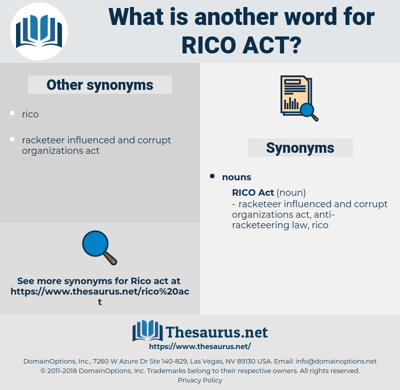 Rico Act, synonym Rico Act, another word for Rico Act, words like Rico Act, thesaurus Rico Act