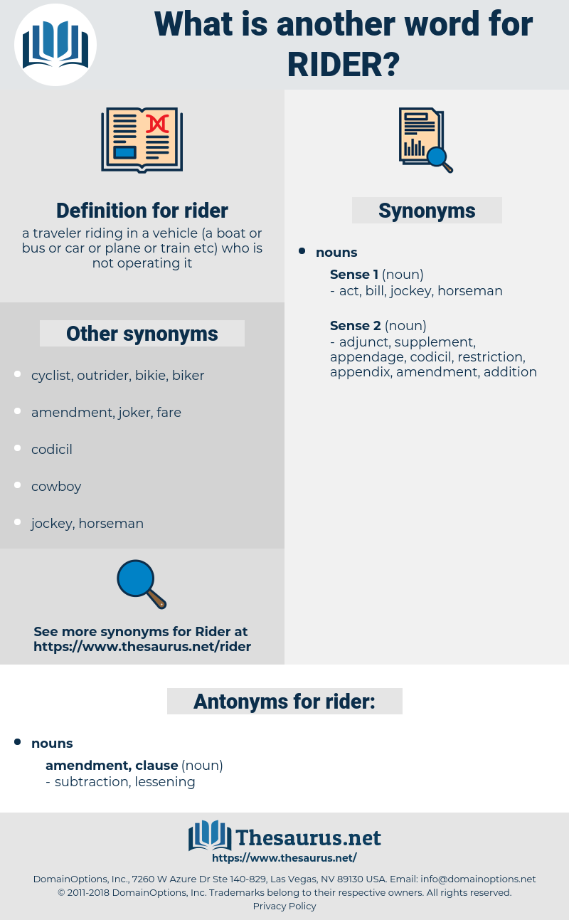 rider, synonym rider, another word for rider, words like rider, thesaurus rider