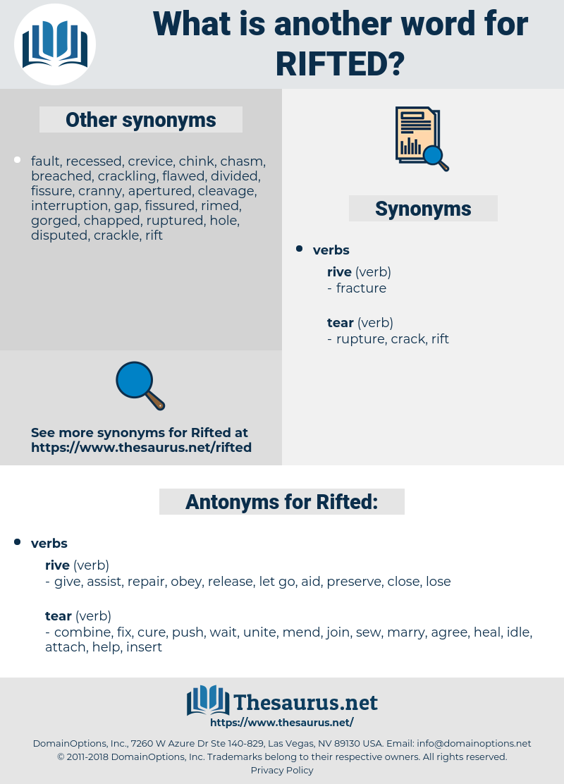 Rifted, synonym Rifted, another word for Rifted, words like Rifted, thesaurus Rifted