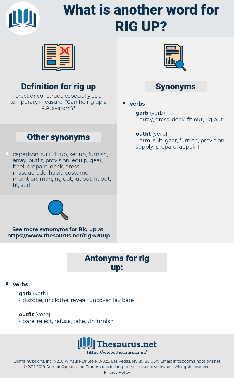 rig up, synonym rig up, another word for rig up, words like rig up, thesaurus rig up