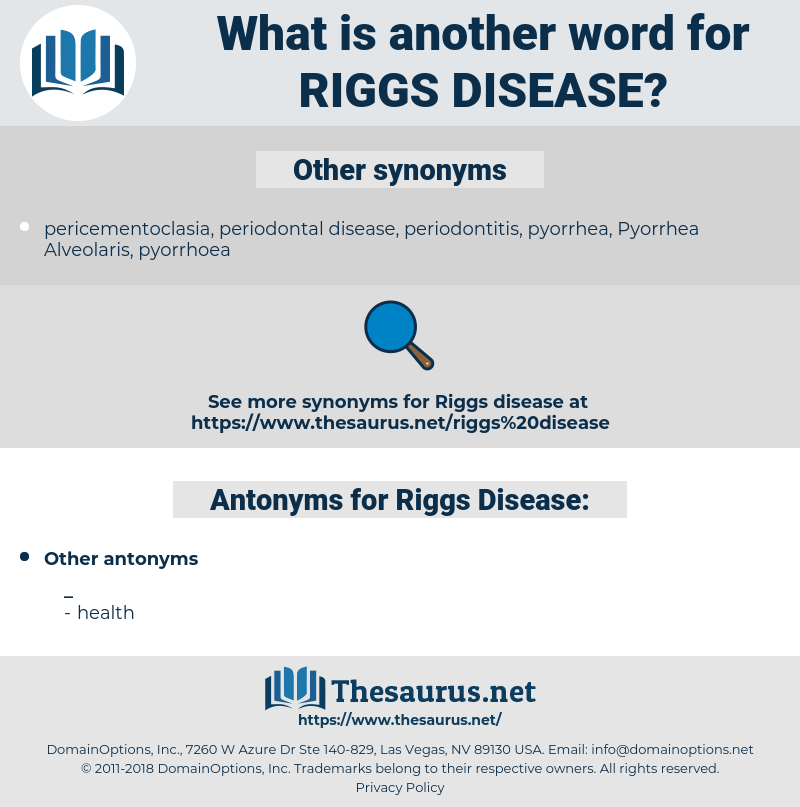 Riggs' Disease, synonym Riggs' Disease, another word for Riggs' Disease, words like Riggs' Disease, thesaurus Riggs' Disease