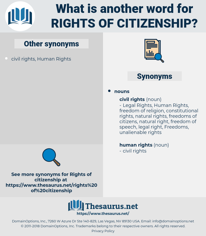 rights of citizenship, synonym rights of citizenship, another word for rights of citizenship, words like rights of citizenship, thesaurus rights of citizenship