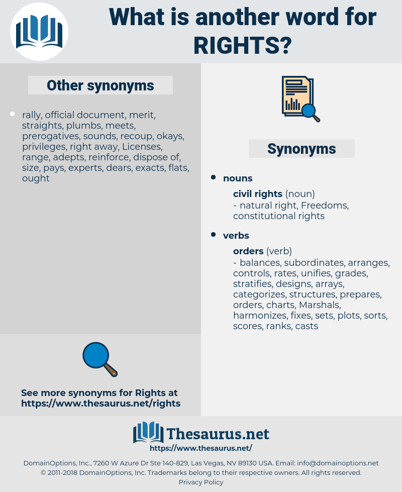 Rights, synonym Rights, another word for Rights, words like Rights, thesaurus Rights