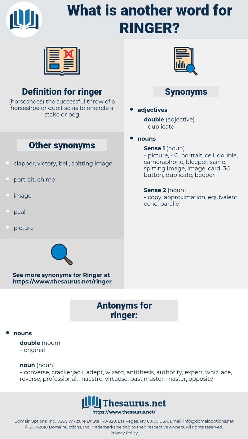 ringer, synonym ringer, another word for ringer, words like ringer, thesaurus ringer