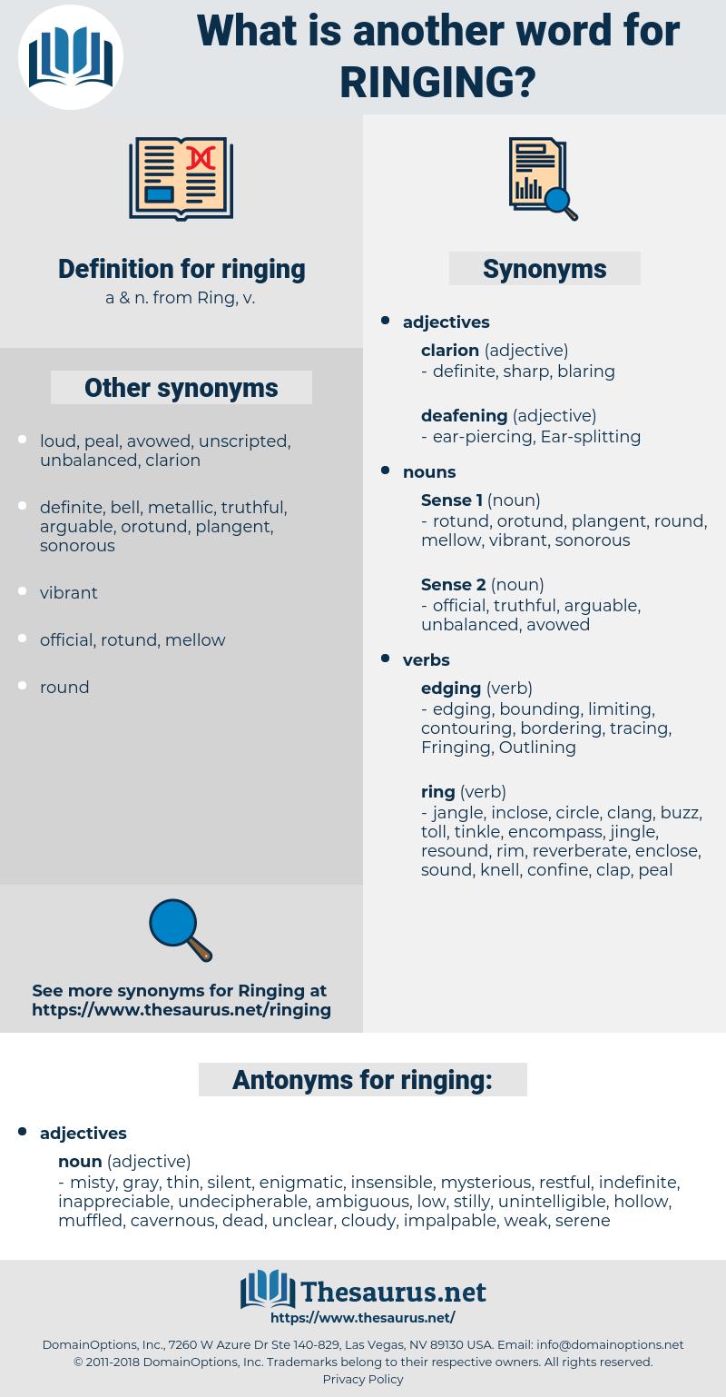 ringing, synonym ringing, another word for ringing, words like ringing, thesaurus ringing