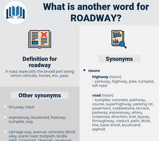 roadway, synonym roadway, another word for roadway, words like roadway, thesaurus roadway