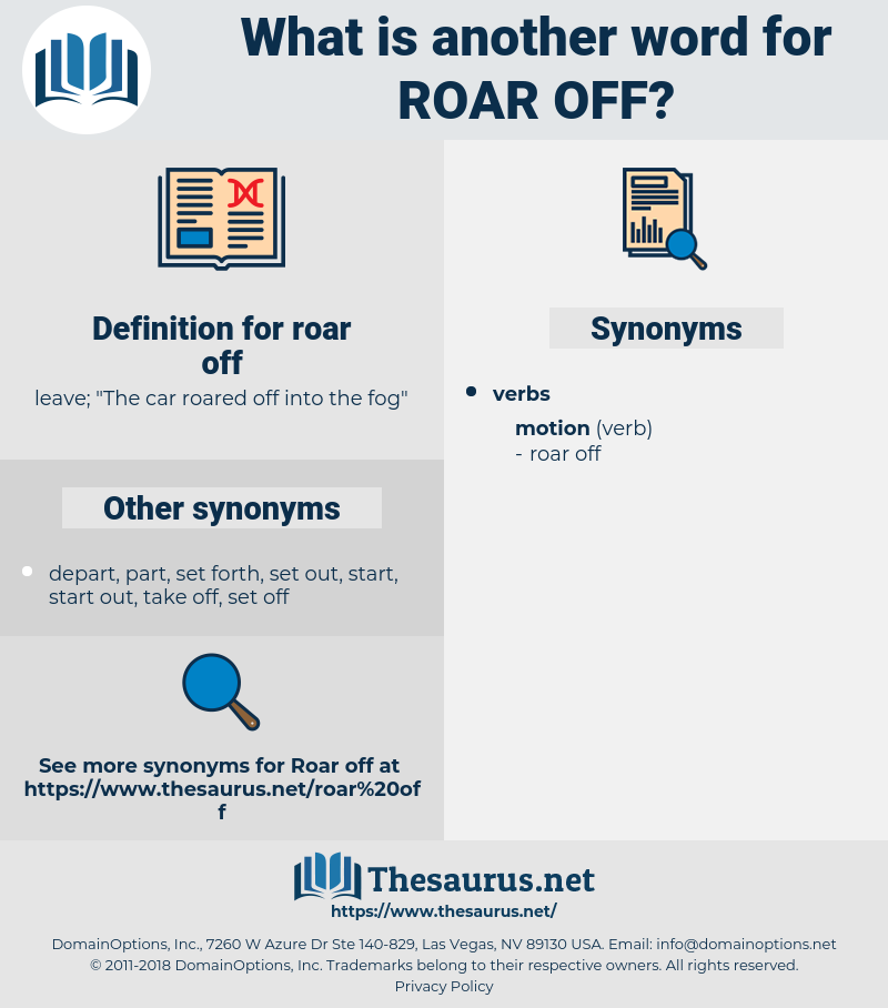 roar off, synonym roar off, another word for roar off, words like roar off, thesaurus roar off