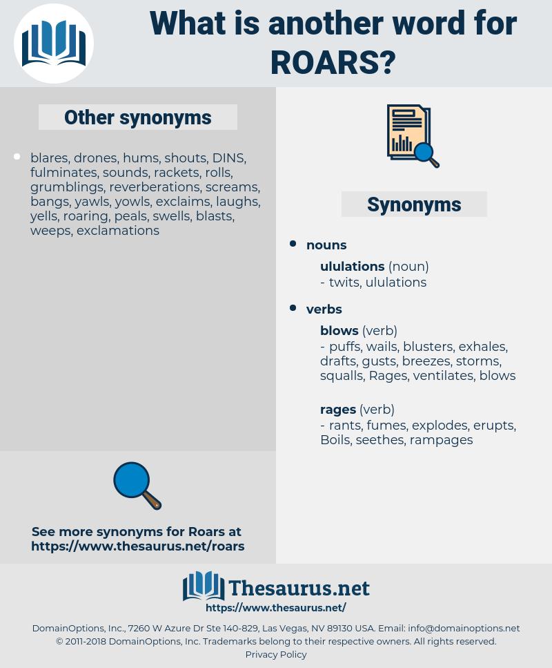 roars, synonym roars, another word for roars, words like roars, thesaurus roars