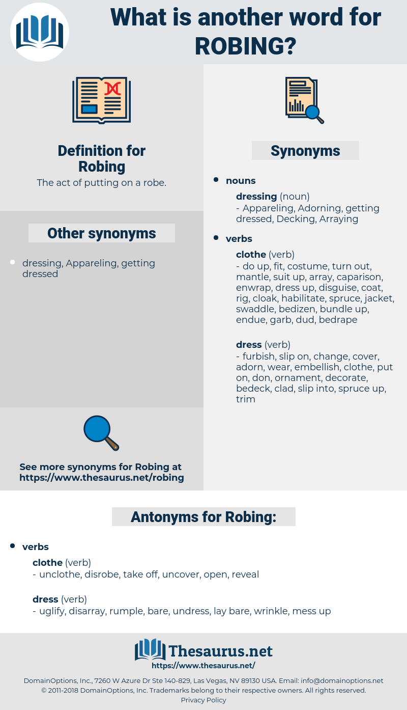 Robing, synonym Robing, another word for Robing, words like Robing, thesaurus Robing