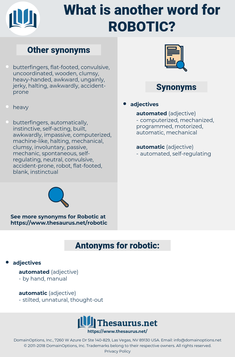 robotic, synonym robotic, another word for robotic, words like robotic, thesaurus robotic