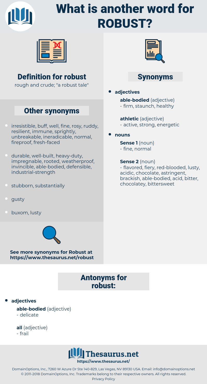 Synonyms For Robust Antonyms For Robust Thesaurusnet - robust definition sentence