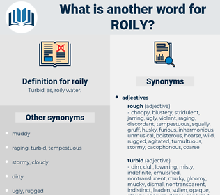 roily, synonym roily, another word for roily, words like roily, thesaurus roily