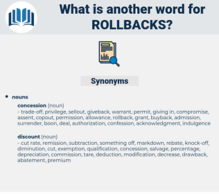 rollbacks, synonym rollbacks, another word for rollbacks, words like rollbacks, thesaurus rollbacks