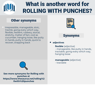 rolling with punches, synonym rolling with punches, another word for rolling with punches, words like rolling with punches, thesaurus rolling with punches