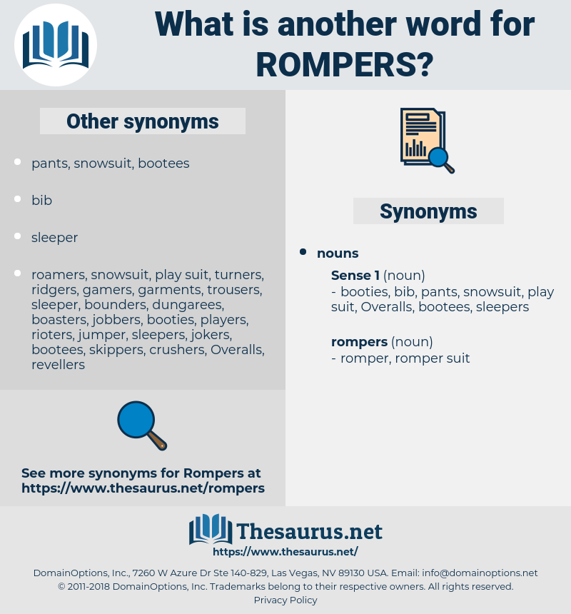 rompers, synonym rompers, another word for rompers, words like rompers, thesaurus rompers
