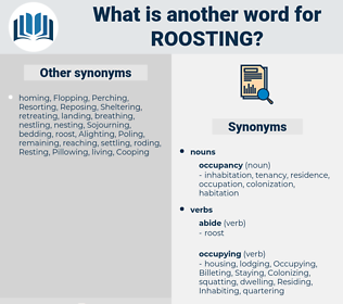 Roosting, synonym Roosting, another word for Roosting, words like Roosting, thesaurus Roosting