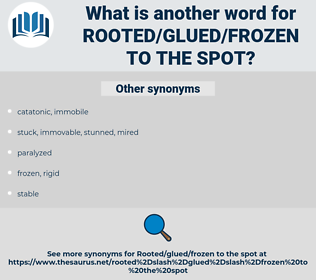 rooted/glued/frozen to the spot, synonym rooted/glued/frozen to the spot, another word for rooted/glued/frozen to the spot, words like rooted/glued/frozen to the spot, thesaurus rooted/glued/frozen to the spot