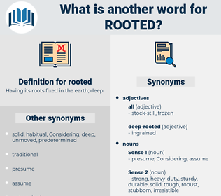 rooted, synonym rooted, another word for rooted, words like rooted, thesaurus rooted