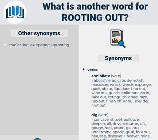 rooting out, synonym rooting out, another word for rooting out, words like rooting out, thesaurus rooting out